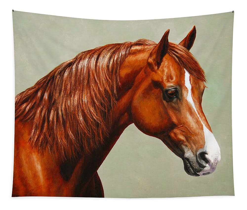Horse Tapestry featuring the painting Morgan Horse - Flame by Crista Forest