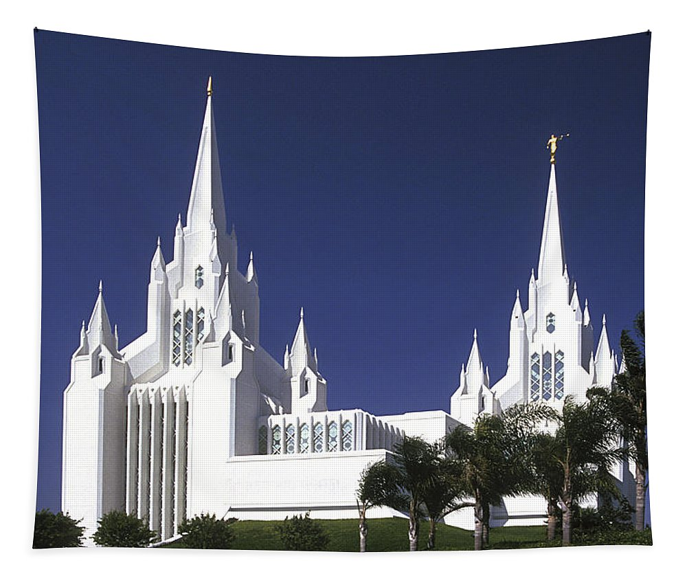 Mormon Tapestry featuring the photograph Mormon Temple by Paul W Faust - Impressions of Light