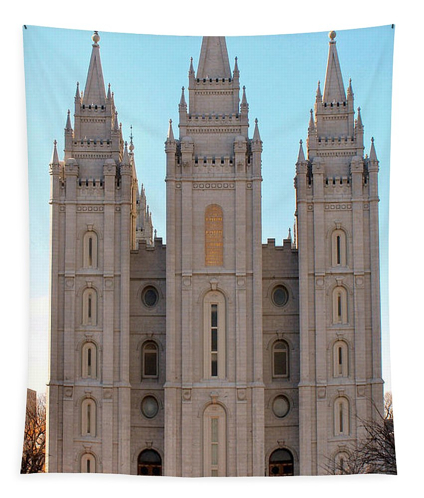 Salt Lake City Tapestry featuring the photograph Mormon Temple by Tikvah's Hope