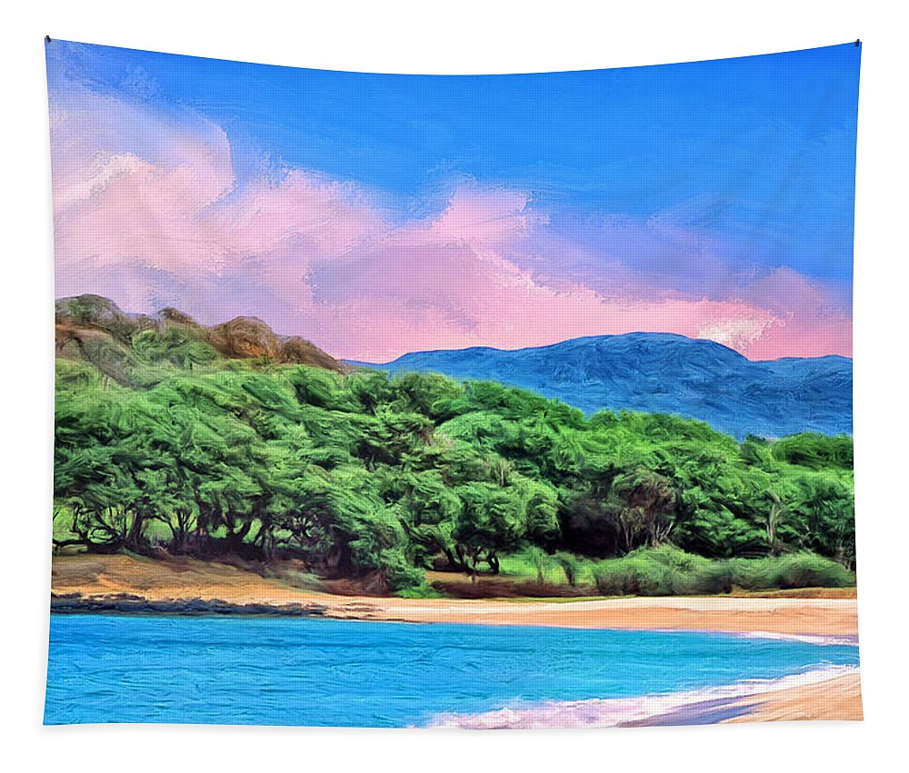 Morning Tapestry featuring the painting Morning At Papohaku Beach by Dominic Piperata