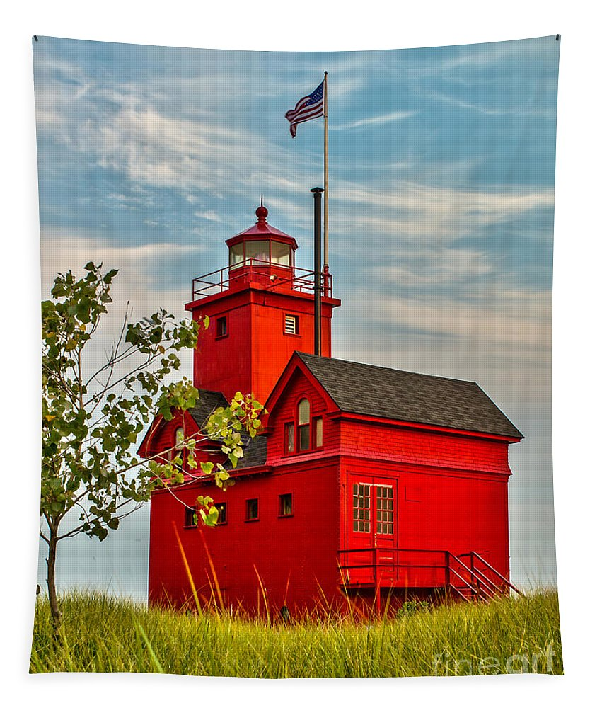 Lighthouse Tapestry featuring the photograph Morning At The Big Red Lighthouse by Nick Zelinsky