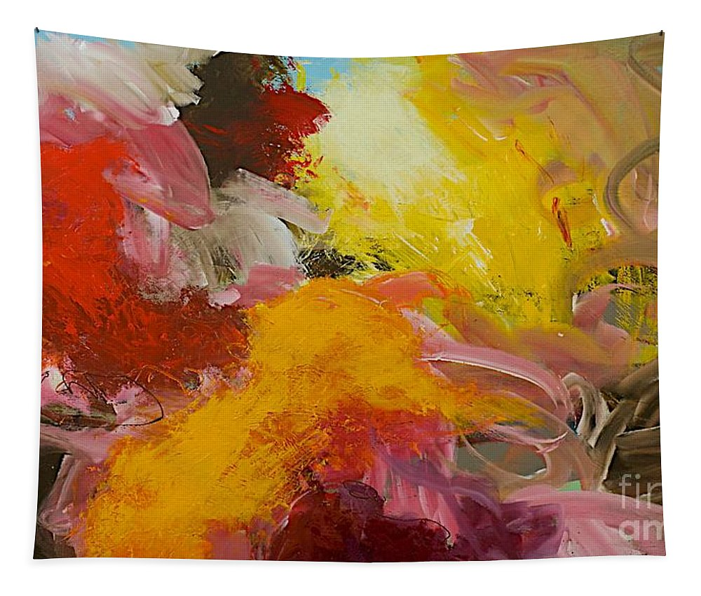 Landscape Tapestry featuring the painting Morning Burst by Allan P Friedlander