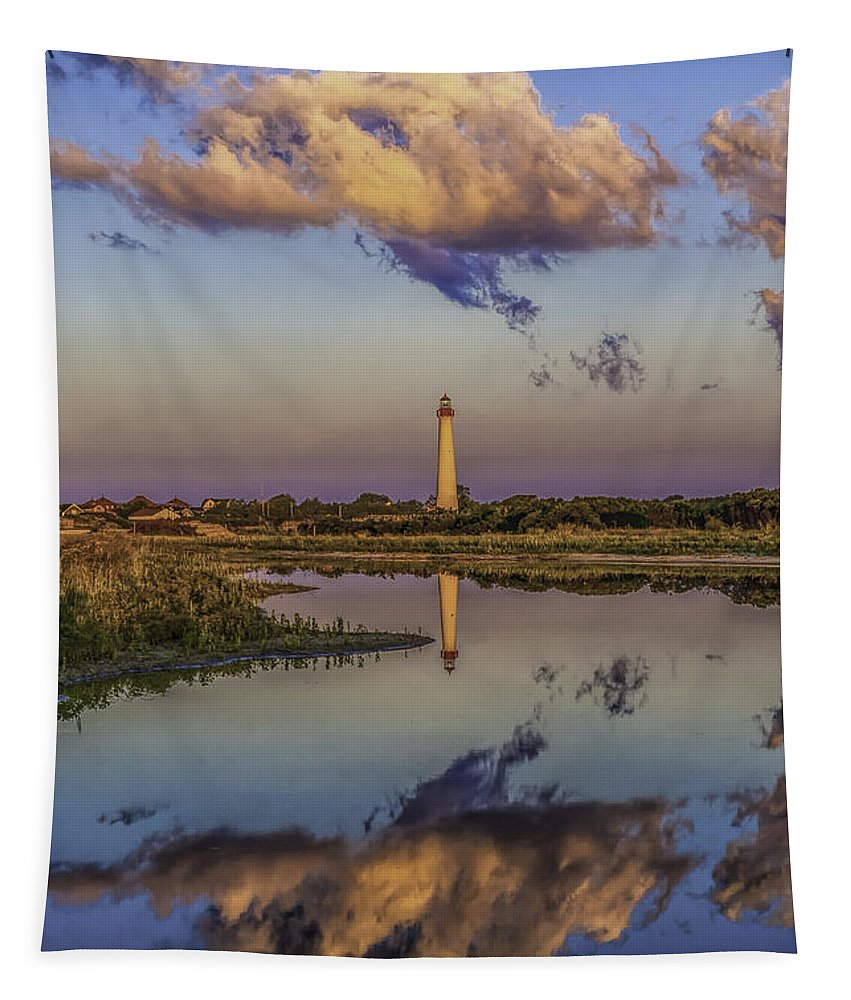 Architecture Tapestry featuring the photograph Morning Clouds At Cape May Light by Nick Zelinsky