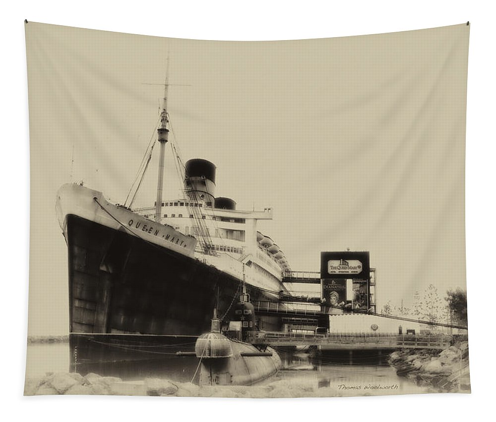 Submarine Tapestry featuring the photograph Morning Fog Russian Sub And Queen Mary Heirloom by Thomas Woolworth