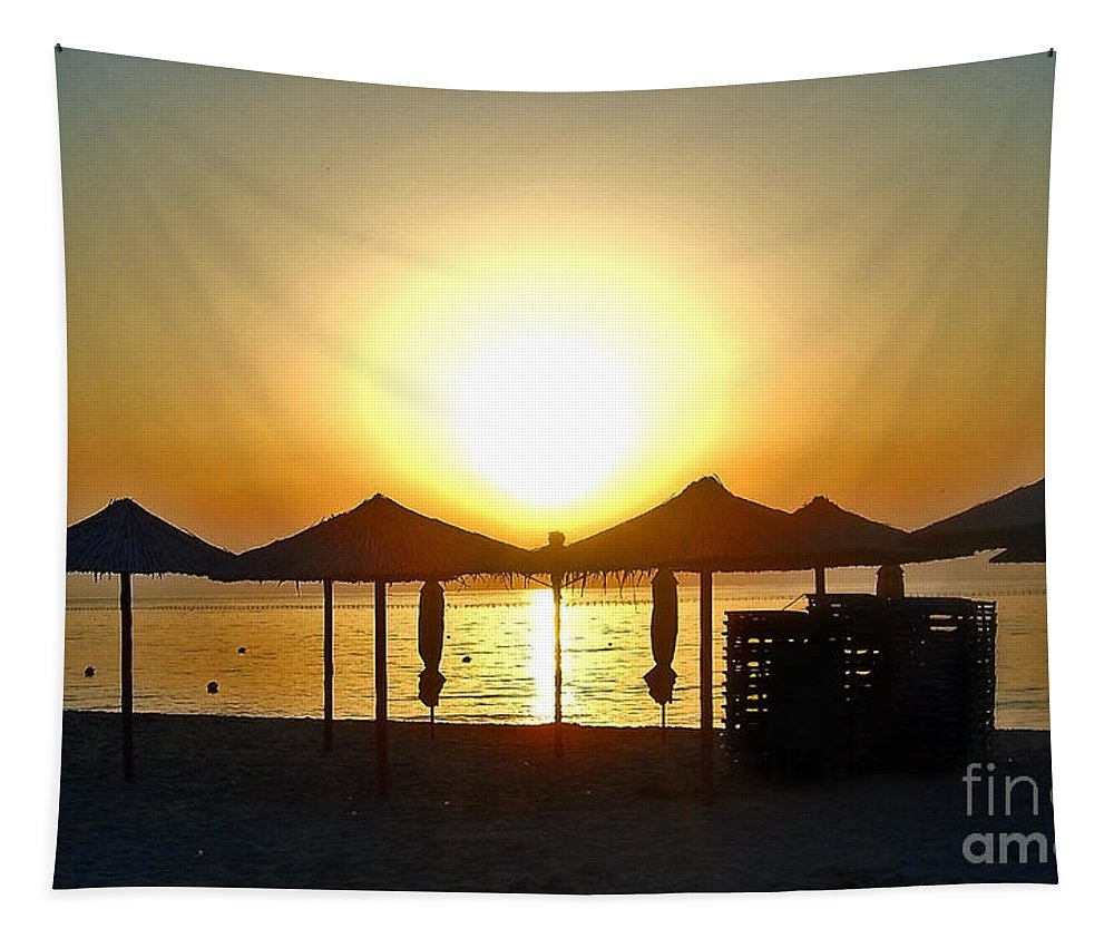 Morning Tapestry featuring the photograph Morning In Greece by Nina Ficur Feenan