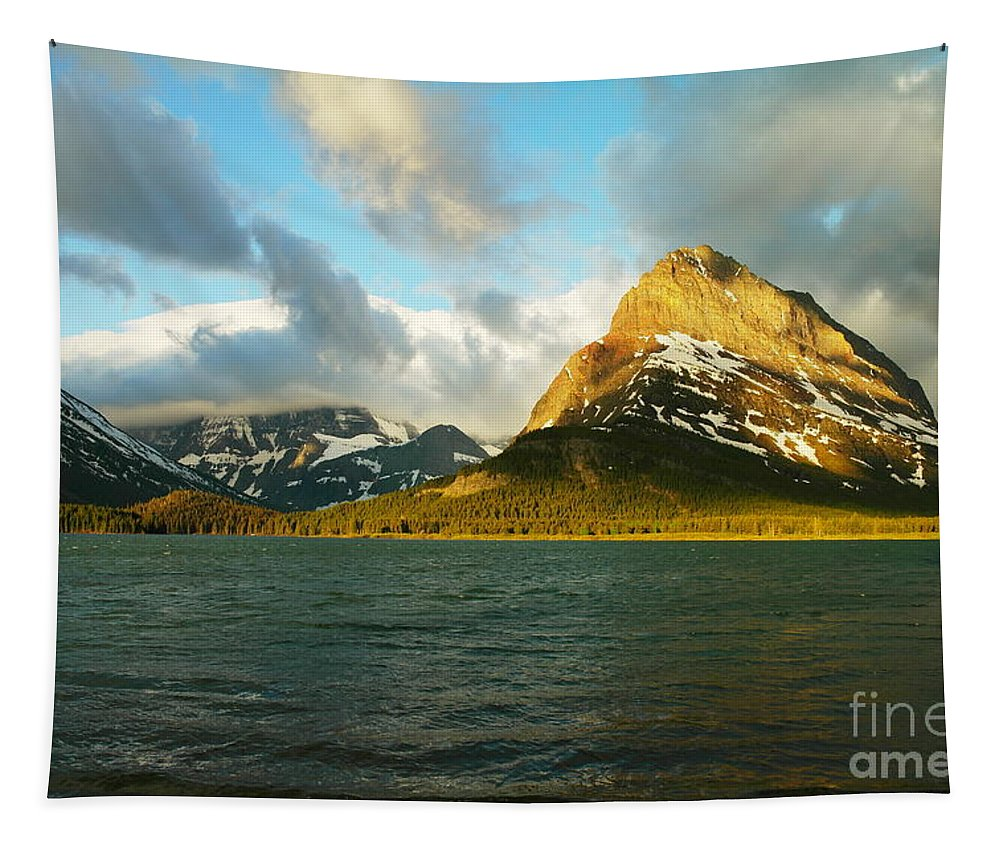 Mountains Tapestry featuring the photograph Morning Mountains At Many Glacier by Jeff Swan