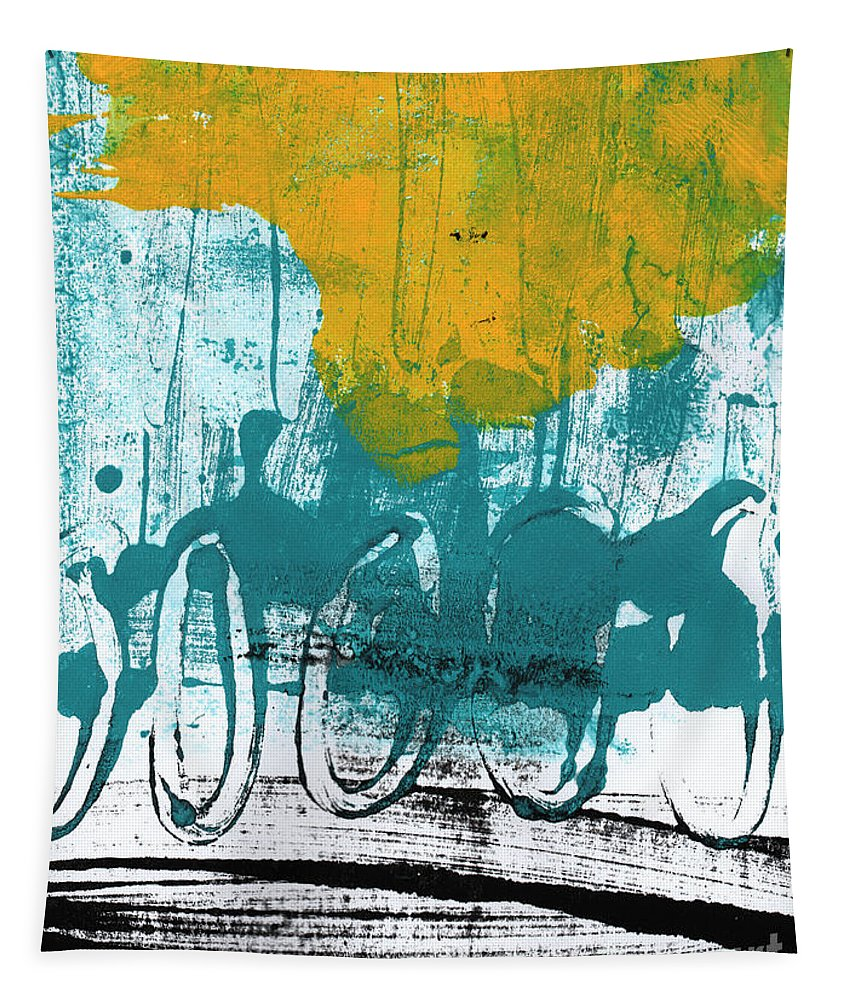 Abstract Painting Tapestry featuring the painting Morning Ride by Linda Woods