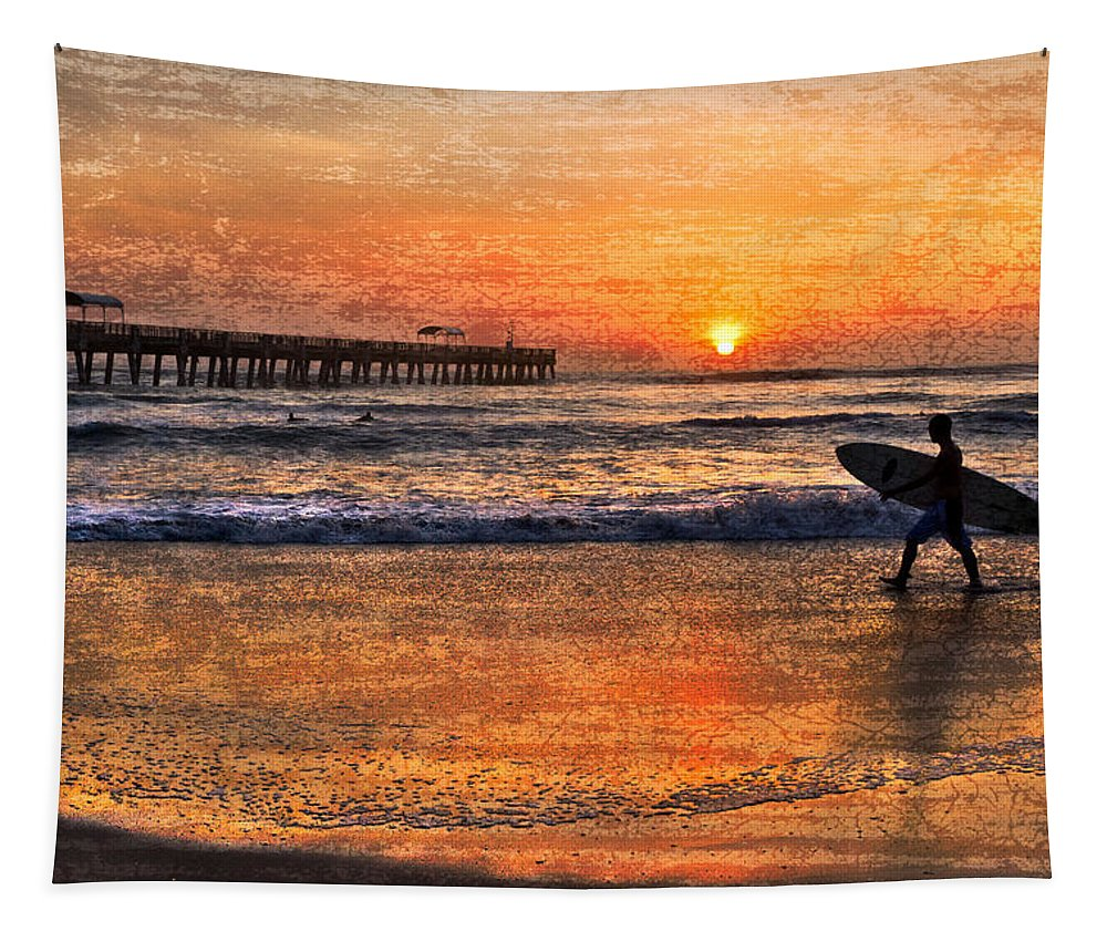 Benny's Tapestry featuring the photograph Morning Surf by Debra and Dave Vanderlaan
