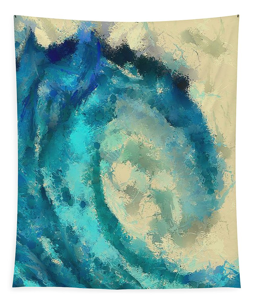 Landscape Tapestry featuring the digital art Morning Wave by Dragica Micki Fortuna