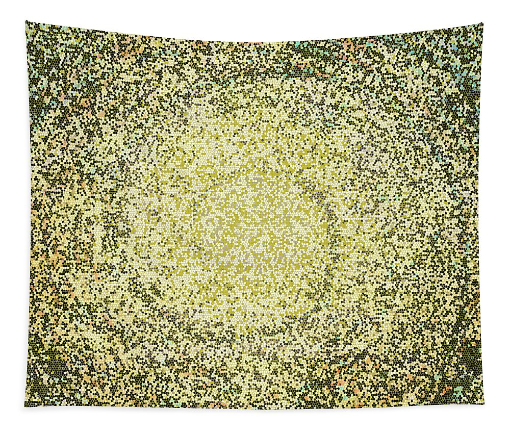 Mosaic Tapestry featuring the digital art Mosaic Galaxy In Gold by Joy McKenzie