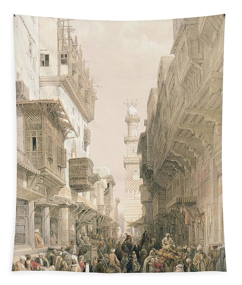 Bazaar Tapestry featuring the drawing Mosque El Mooristan, Cairo, From Egypt by David Roberts