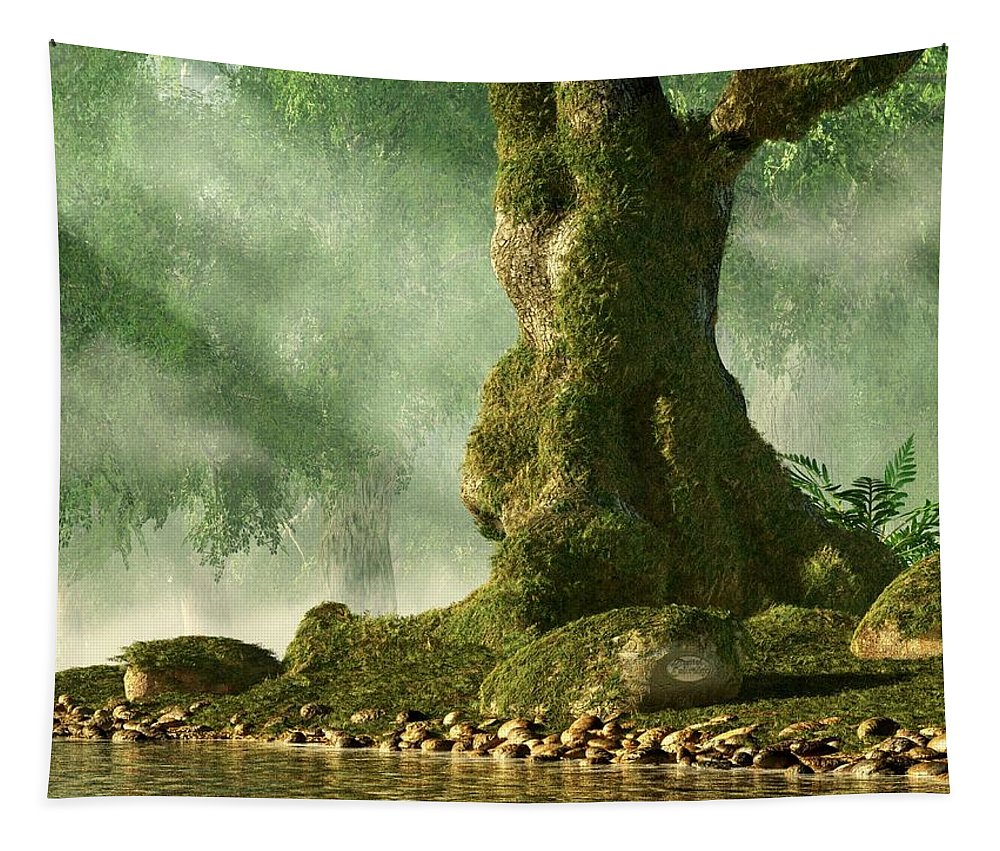 Mossy Tapestry featuring the digital art Mossy Old Oak by Daniel Eskridge