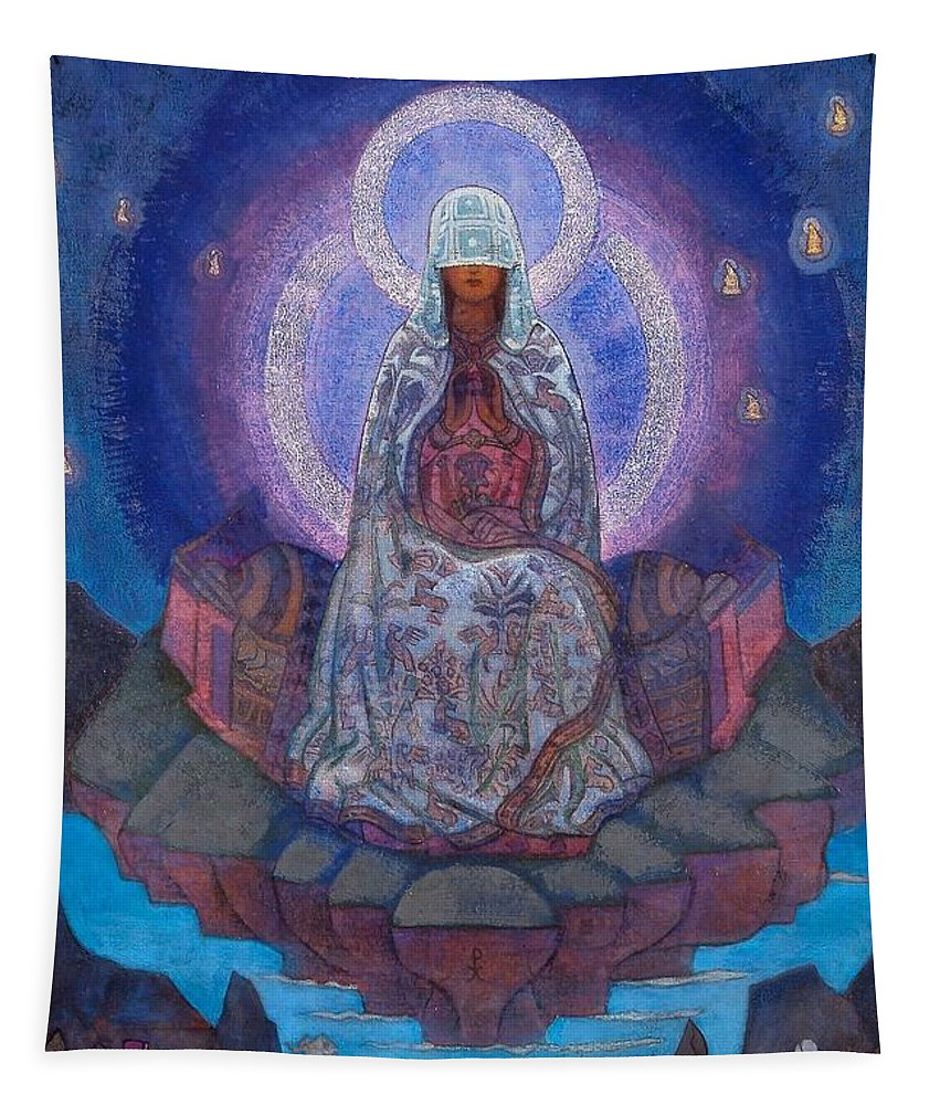 1930's Tapestry featuring the painting Mother Of The World by Nicholas Roerich