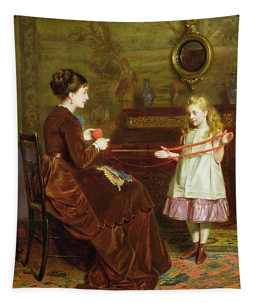 Winding Tapestry featuring the painting Mothers Little Helper by George Goodwin Kilburne