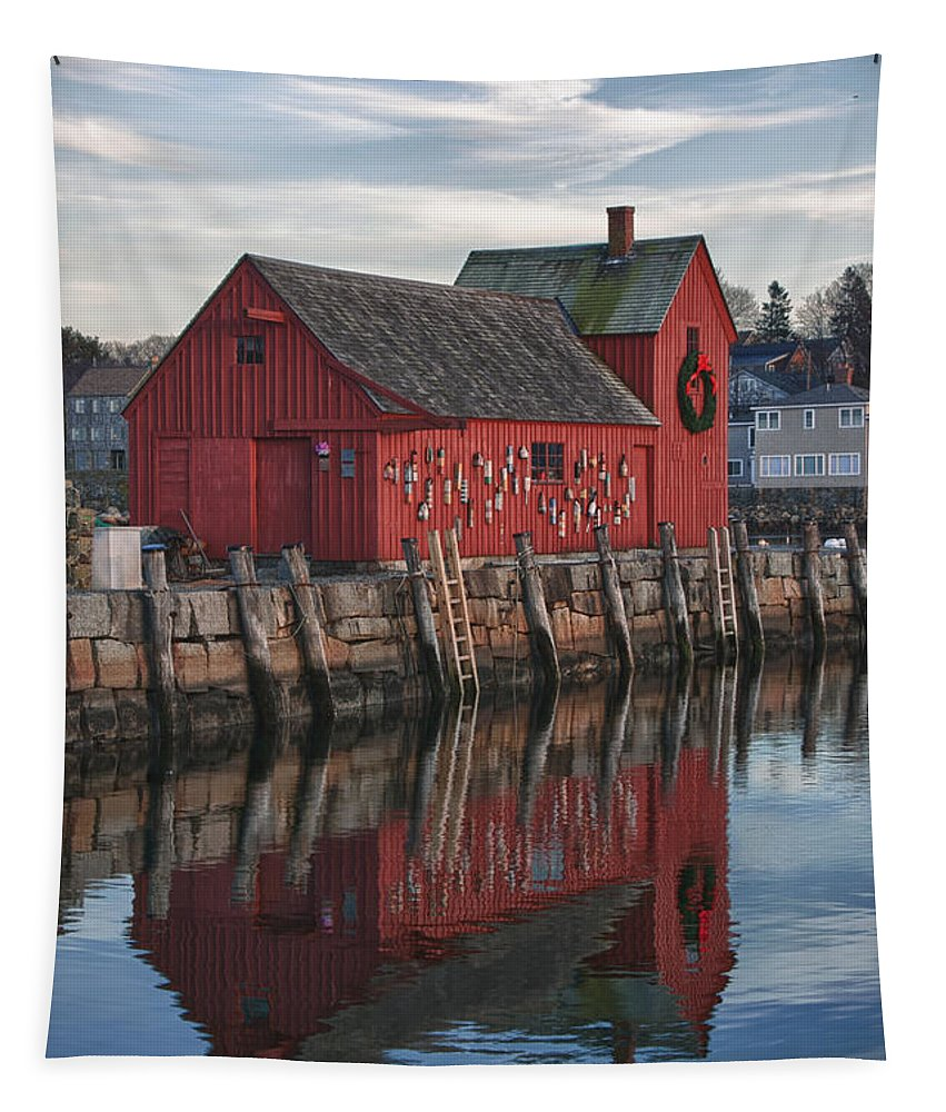 Motif Number One Rockport Lobster Shack By Jeff Folger Tapestry featuring the photograph Motifs Long Reflection by Jeff Folger