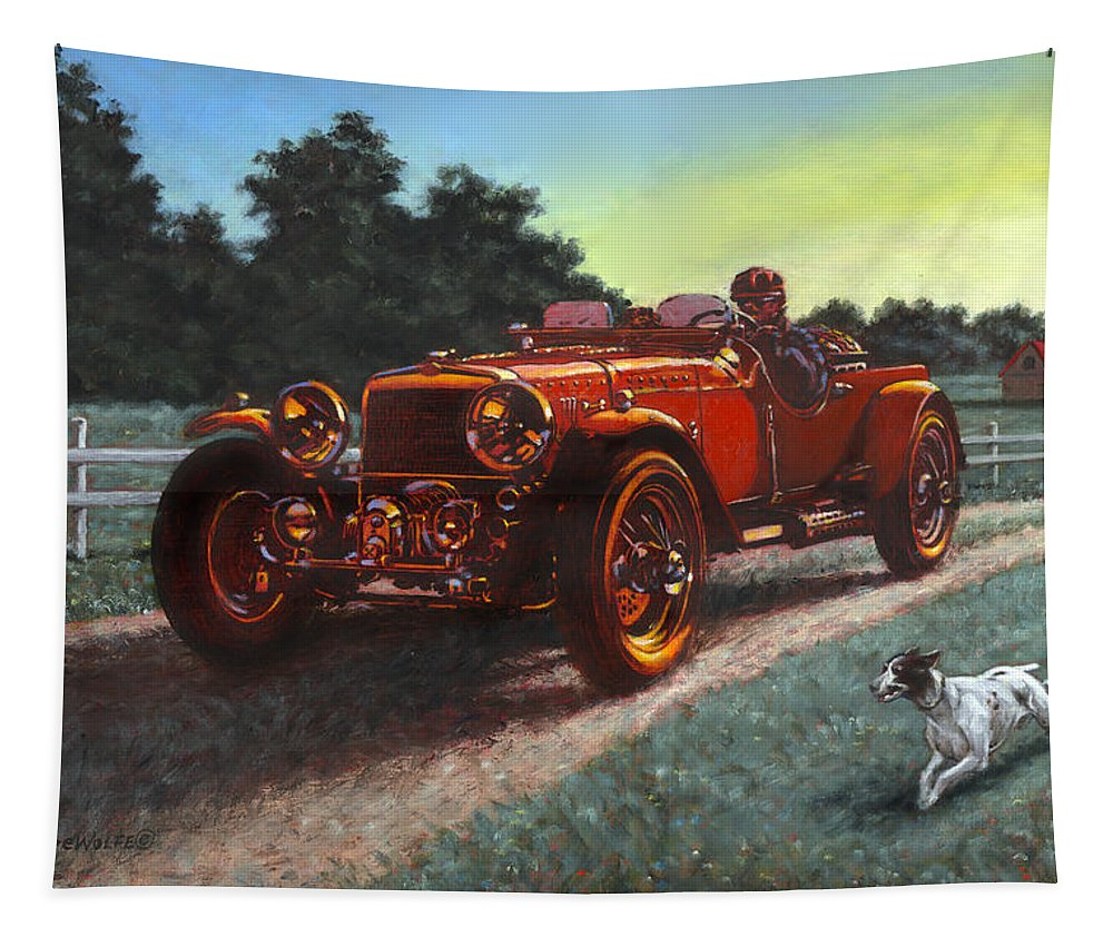 Red Tapestry featuring the painting Motor Car by Richard De Wolfe