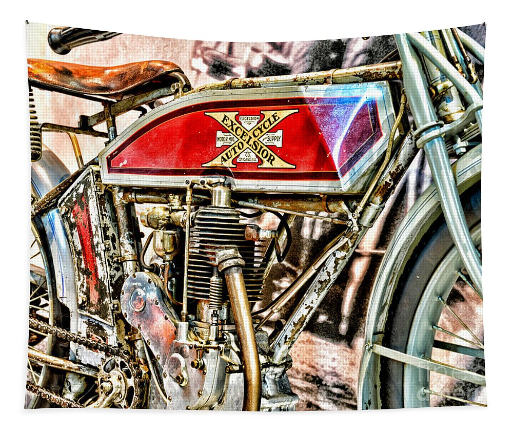 Paul Ward Tapestry featuring the photograph Motorcycle - 1914 Excelsior Auto Cycle by Paul Ward