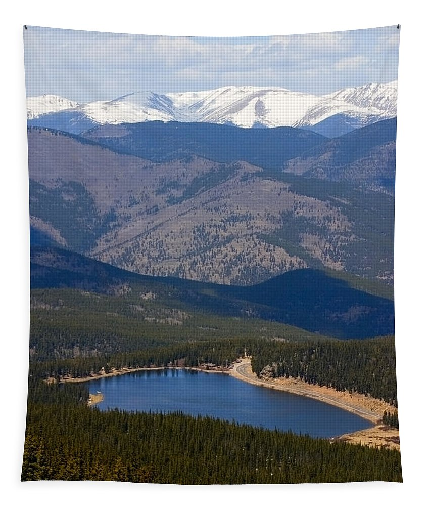 Echo Lake Tapestry featuring the photograph Mount Evans And Echo Lake by Steve Krull