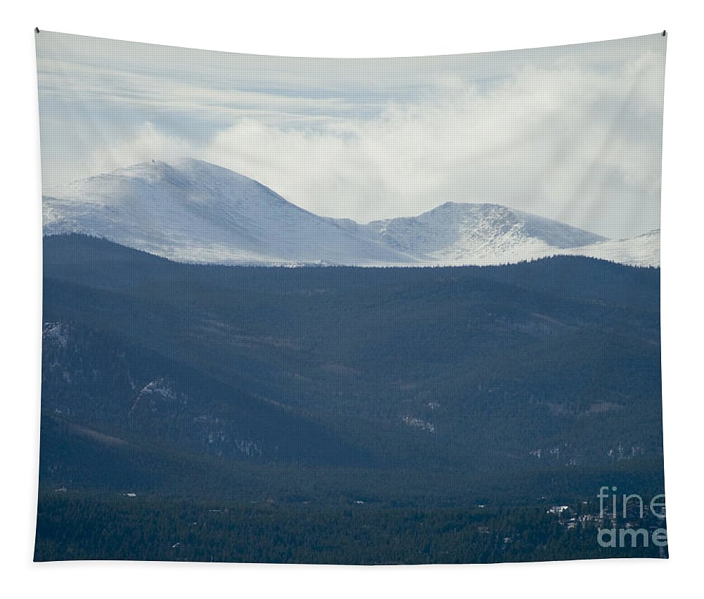 Mount Evans Tapestry featuring the photograph Mount Evans In Snow by Steve Krull