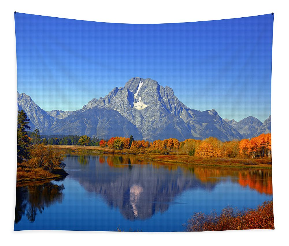 Mount Moran Tapestry featuring the photograph Mount Moran by Raymond Salani III