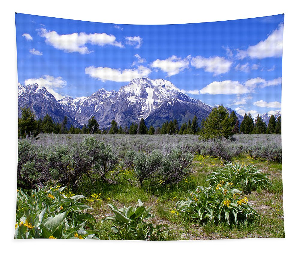 Mount Moran Wildflowers Grand Teton National Park Tapestry featuring the photograph Mount Moran Wildflowers by Brian Harig