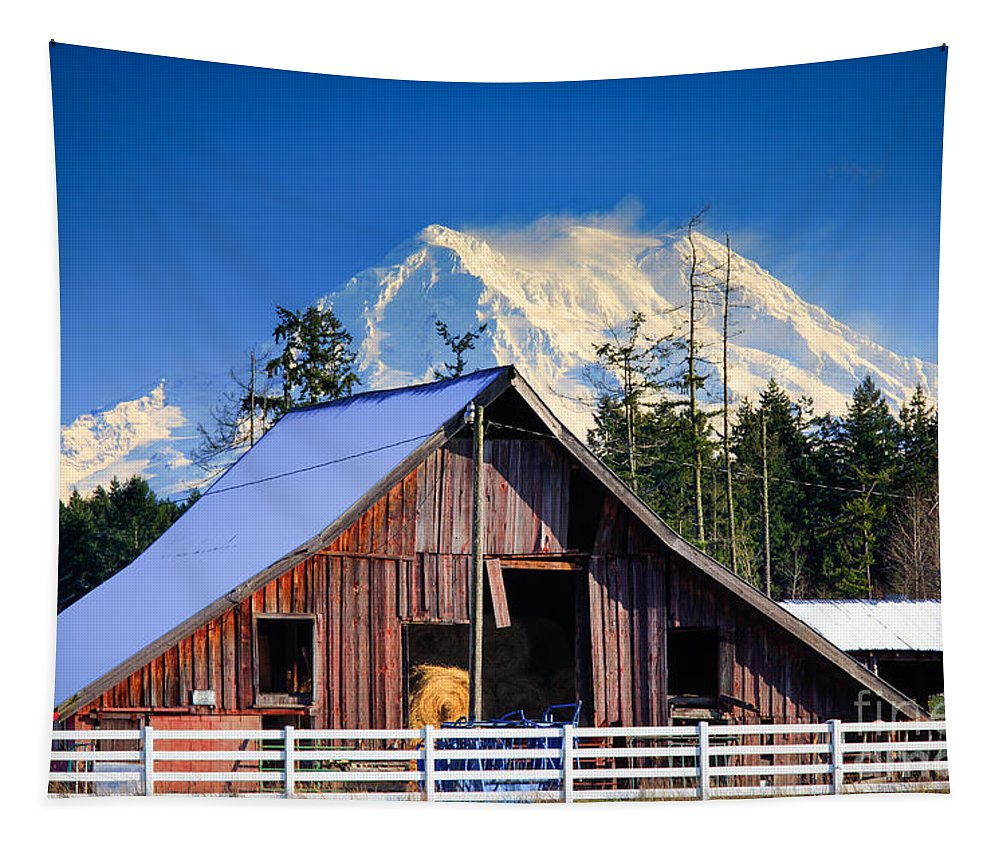 America Tapestry featuring the photograph Mount Rainier And Barn by Inge Johnsson