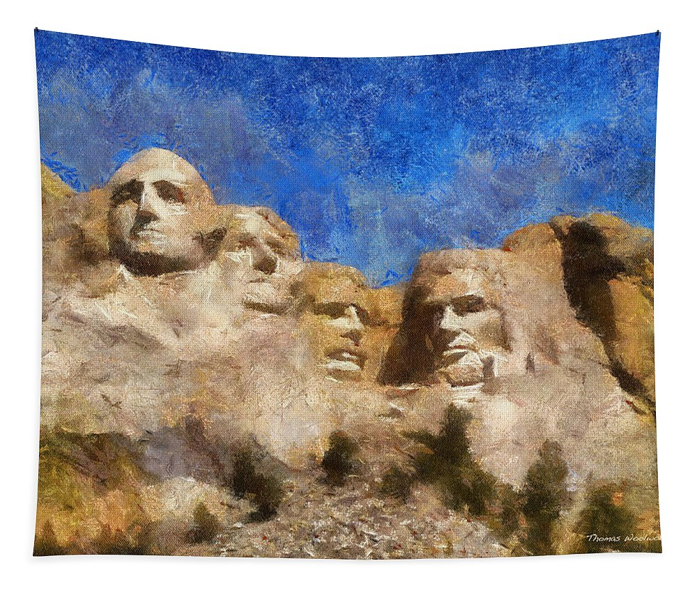 Sculpture Tapestry featuring the photograph Mount Rushmore Monument Photo Art by Thomas Woolworth