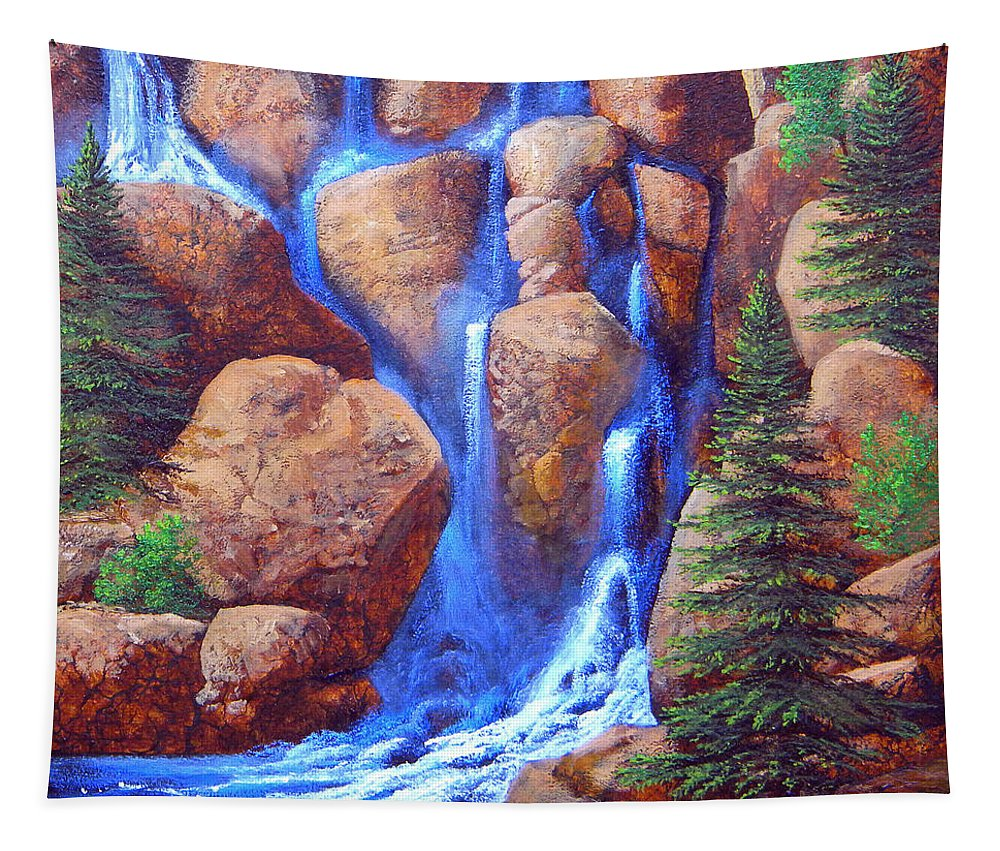 Canyon Tapestry featuring the painting Mountain Cascade by Frank Wilson