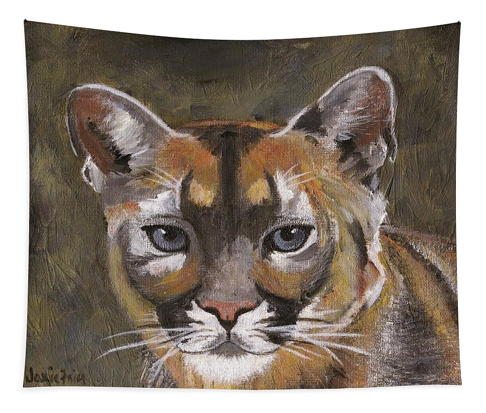 Black Tapestry featuring the painting Mountain Cat by Jamie Frier