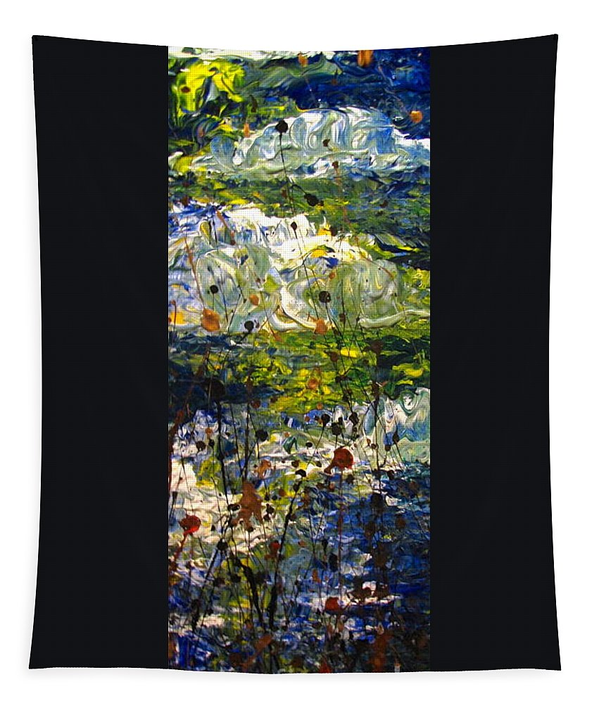 Water Tapestry featuring the painting Mountain Creek by Jacqueline Athmann