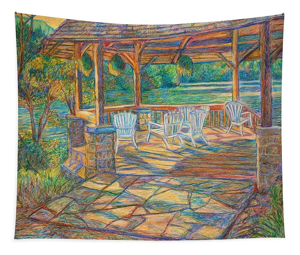 Lake Tapestry featuring the painting Mountain Lake Shadows by Kendall Kessler