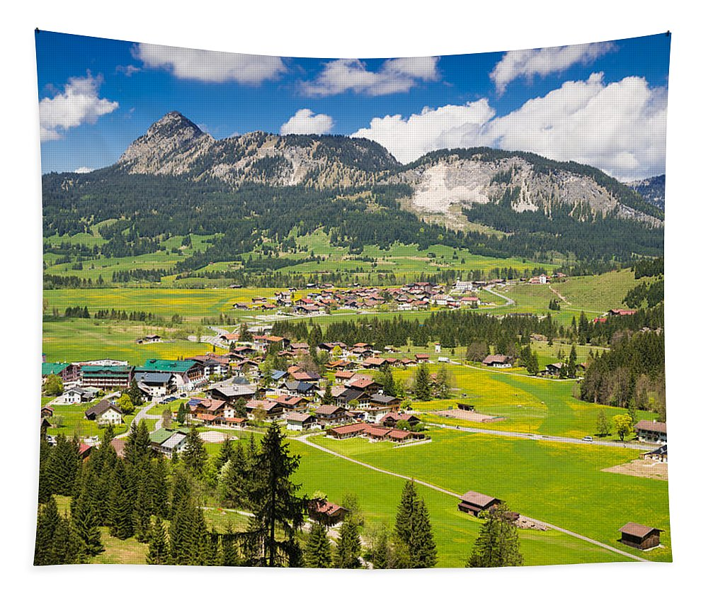 Mountains Tapestry featuring the photograph Mountain Landscape With Village In The Allgaeu Alps Austria by Matthias Hauser