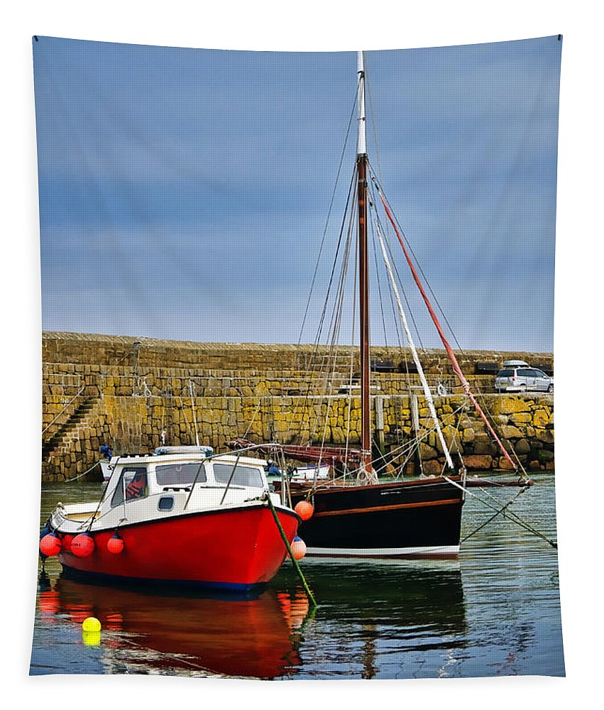 Mousehole Tapestry featuring the photograph Mousehole Harbour Evening 2 by Susie Peek