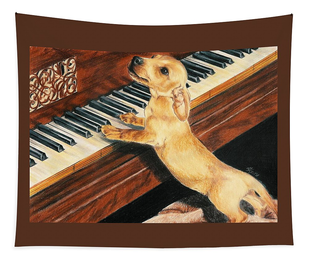 Purebred Dog Tapestry featuring the drawing Mozart's Apprentice by Barbara Keith