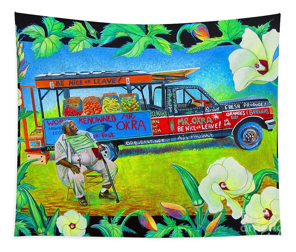 Mr Okra Tapestry featuring the painting Mr Okra by Pamela Iris Harden