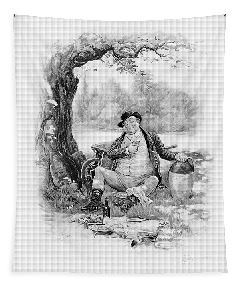 Samuel Tapestry featuring the drawing Mr Pickwick, From Charles Dickens A by Frederick Barnard