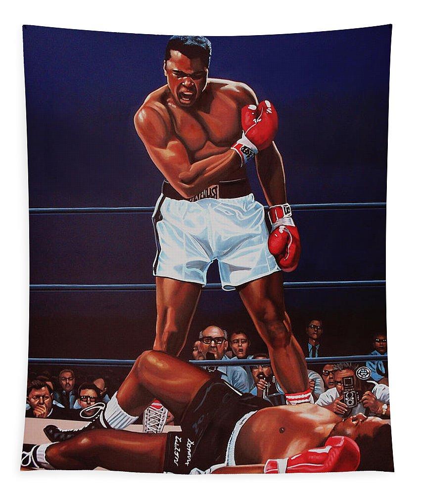 Mohammed Ali Versus Sonny Liston Tapestry featuring the painting Muhammad Ali versus Sonny Liston by Paul Meijering