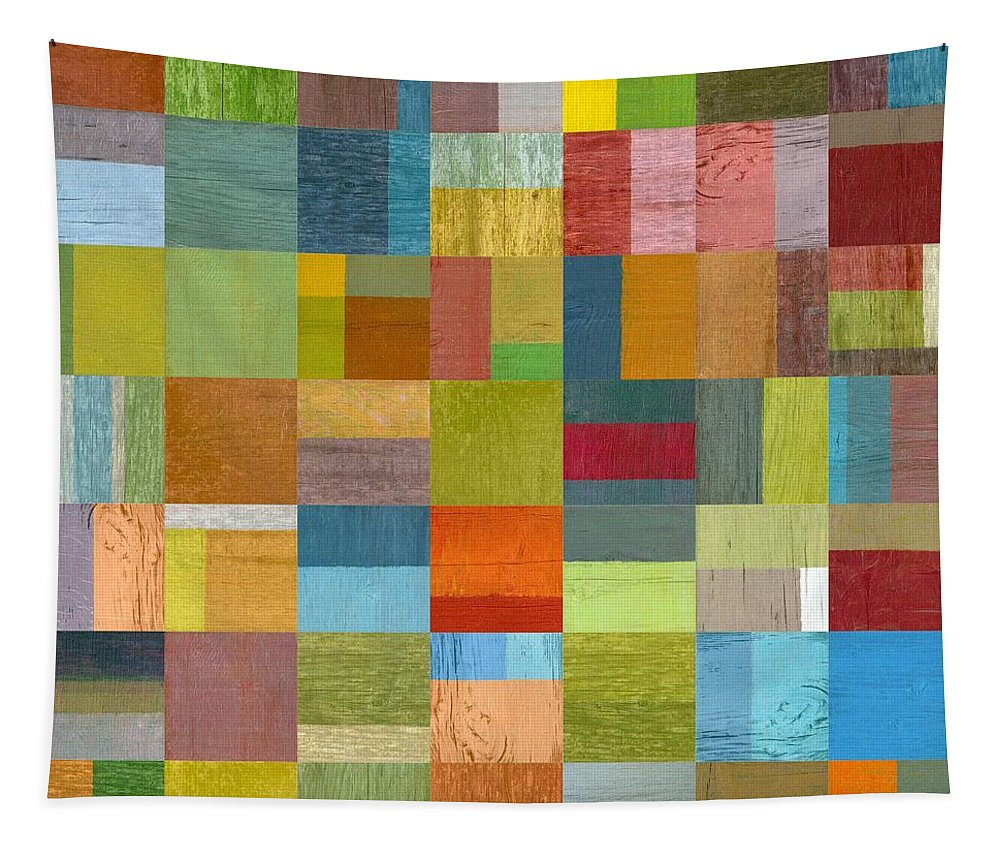Abstract Tapestry featuring the digital art Multiple Exposures L by Michelle Calkins