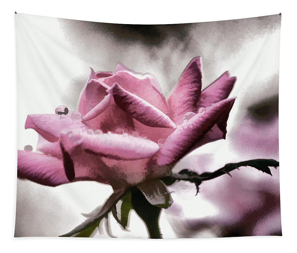 Flower Tapestry featuring the mixed media Museum Park Pink Rose by Trish Tritz