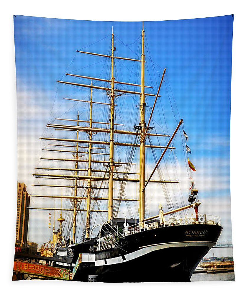 Mushulu Tapestry featuring the photograph Mushulu At Penns Landing by Bill Cannon