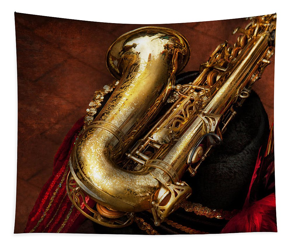 Hdr Tapestry featuring the photograph Music - Brass - Saxophone by Mike Savad