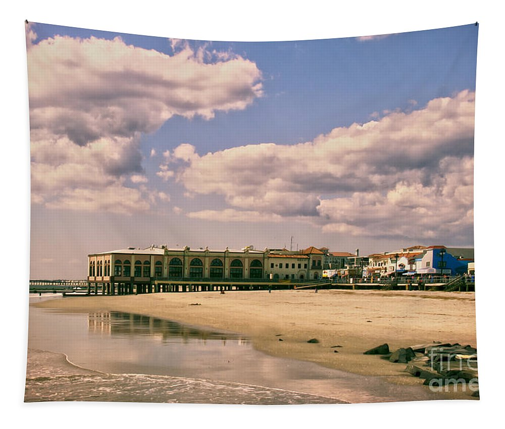 Beach Tapestry featuring the photograph Music Pier From The Beach by Tom Gari Gallery-Three-Photography