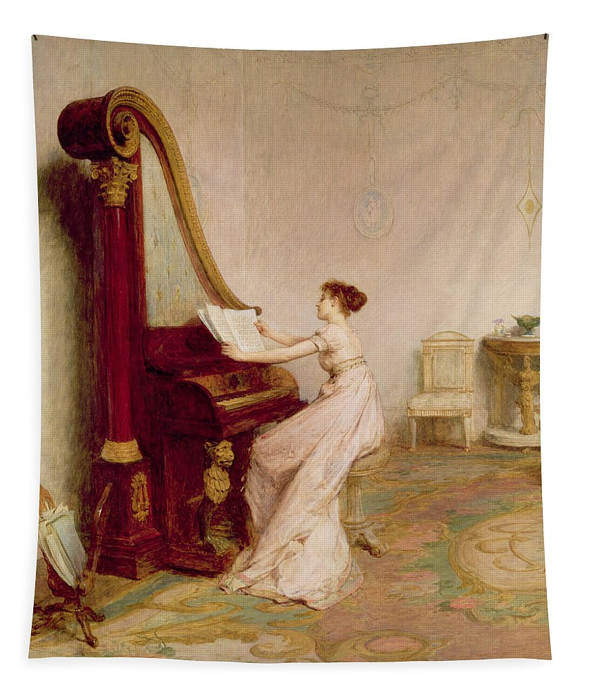 Interior Tapestry featuring the painting Music When Soft Voices Die, Vibrates by Sir William Quiller Orchardson