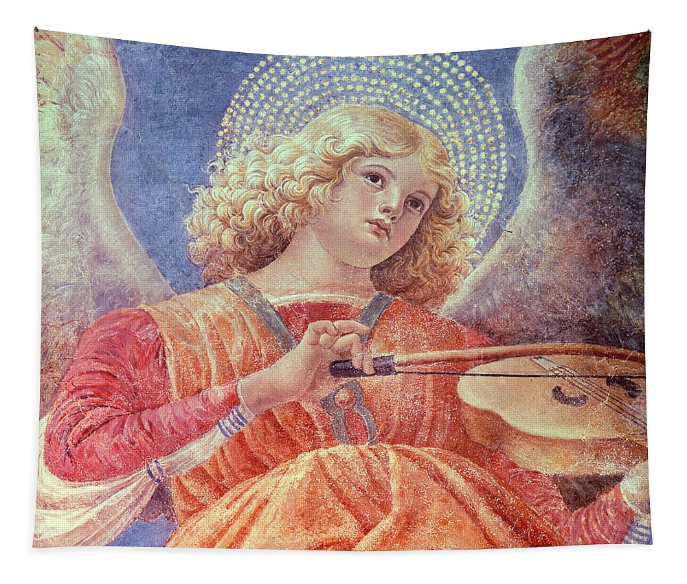 Forli Tapestry featuring the painting Musical Angel With Violin by Melozzo da Forli