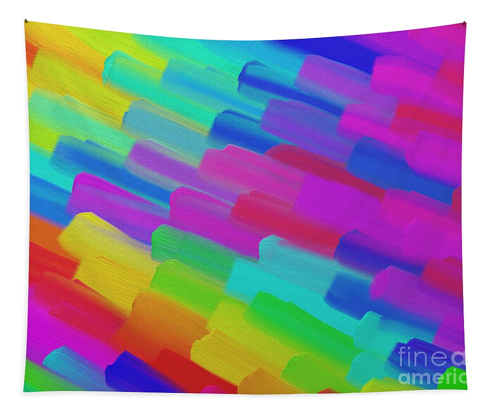 Abstract Tapestry featuring the digital art My Box Of Color by Andee Design