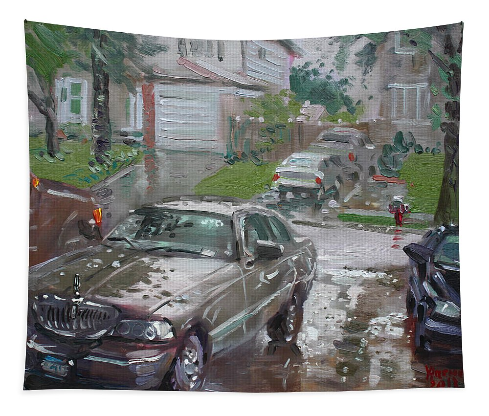Lincoln Town Car Tapestry featuring the painting My Lincoln In The Rain by Ylli Haruni