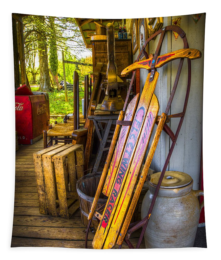 Appalachia Tapestry featuring the photograph My Old Sled by Debra and Dave Vanderlaan