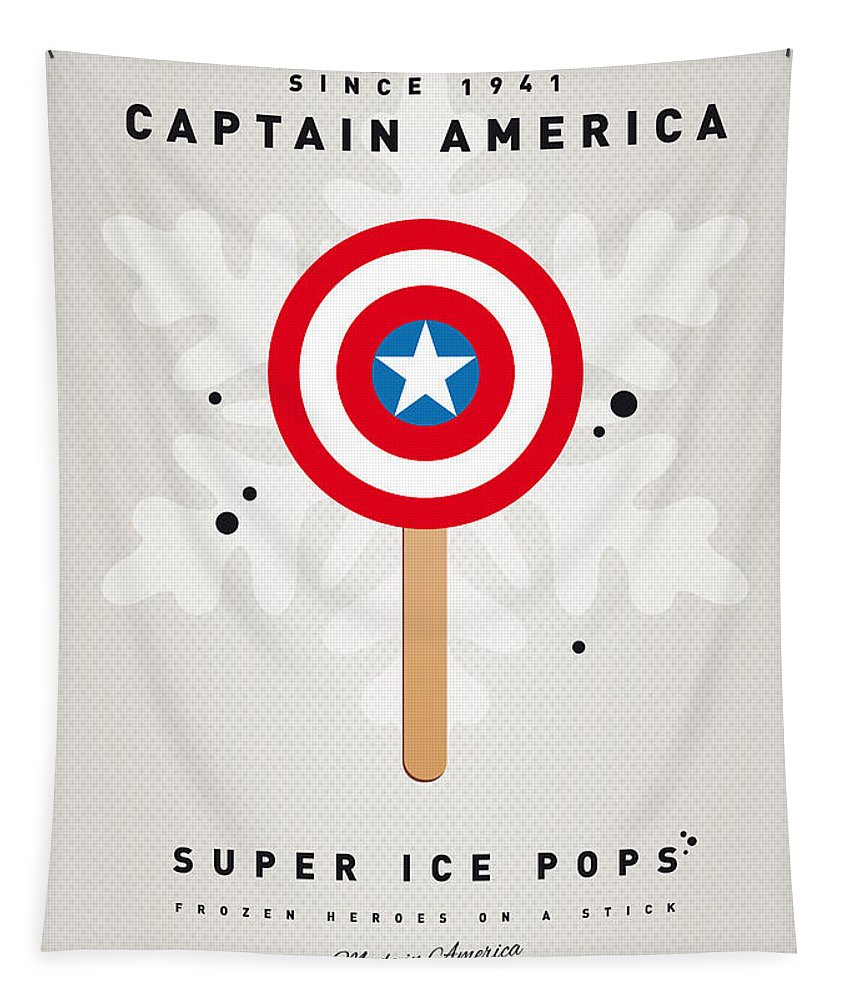 Superheroes Tapestry featuring the digital art My Superhero Ice Pop - Captain America by Chungkong Art