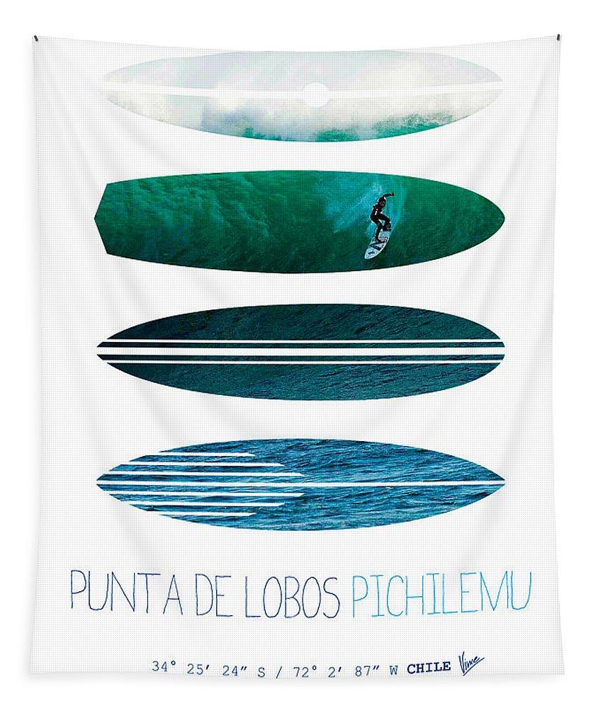 Minimal Tapestry featuring the digital art My Surfspots Poster-3-punta De Lobos-chile by Chungkong Art