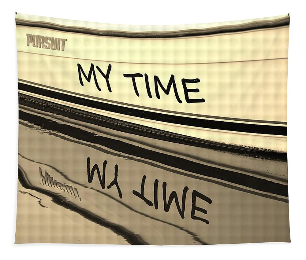 Name Tapestry featuring the photograph My Time Boat Name by Cynthia Guinn